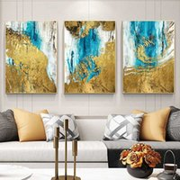 Abstract Wall Art Canvas Pintura de pintura azul Dorado Moderno Mural Pinturas para la sala de estar Decoración de la casa con marco