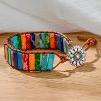 Charm Bracelets Fashion 7 Chakra Healing Yoga Bracelet For Women Girl Bohemian Boho Flower Rainbow Druzy Gift