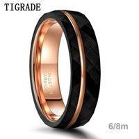 TIGRADE 6 мм 8 мм Черный вольфрамовые кольца для мужчин Женщины тонкие розовые золотые канавку забитые свадьбы кольцо комфортное помещение размером 5-14