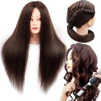 Training Hadhead 85% Véritables cheveux humains 60cm pour coiffeur coiffant coiffeur de coiffure pratique formation professionnelle poupée tête de mannequin