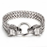 Kaya Viking Kurt Charm Bilezik erkek Paslanmaz Çelik 20.5 cm 22.5 cm Mesh Zincir Altın Kurt Punk Bilezikler Biker Jewelry1