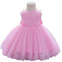 Vestidos de niñas 1er vestido de cumpleaños para ropa de bebé Ropa para niños Ropa para niños Arques Niños Bordado Bow Princess Falda formal Pettiskirt B7235