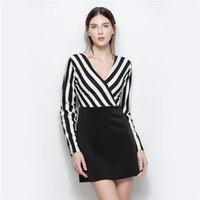 Vestidos casuais yyfs 2021 mulheres sexy outono com decote em v vestido listrado moda verão preto e branco escritório work vestidos