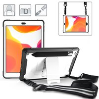 TPU PC Tablet Cases for iPad 10.2 [7th 8th Gen] Mini 5 4 Air 3 2 1 Pro 11 10.5 9.7 inch Samsung Galaxy Tab T500 3-Layers Shockproof Protection Case with Bracket and Shoulder Strap
