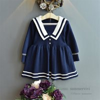 Preppy style Girls knitted sweater pleated dresses kids stripe lapel long sleeve princess dress christmas children clothing Q2825