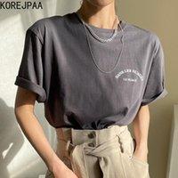 Korejpaa girl t-shirt 2021 Été Corée Chic Casual Tempérament Col Tour Controngée Lettre Contraste Imprimé Pull-Versatile Pullover Top