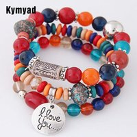 Charm Bracelets Kymyad Bohemia For Women Jelly Stone Beads & Bangles Love Pulseras Ethnic Style Elastic Bracelet Femme