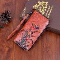 Wallets Women Lady Genuine Leather Wallet Long Clutch Handy Bag Printing Butterfly Flower Female Card Holder Retro Money Clips Purse