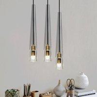 Nordic copper  post-modern crystal chandelier lamps For dining room bedroom bedside creative pendant lights E14 220V 110V 230V