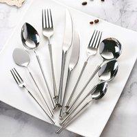 Forks 304 Stainless Steel Western Tableware Main Knife Dessert Spoon Silver Mirror Polished Luxury Cutlery Set Safe Kitchen Utensils