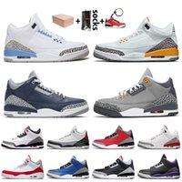 nike air jordan retro 3 Con caja Jumpman 3 3s Zapatillas de baloncesto Hombre UNC Láser Orange Georgetown Midnight Navy Cool Gris Tinker Hatfield Trainers Sneakers