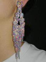 Dangle & Chandelier Crystal Tassel Earrings Bohemian Rhinestone Fringe Chain Drop Earring Women Girls Valentine's Day Wedding