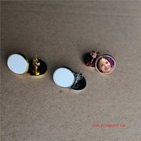 sublimation blank stud earrings fashion stud earring for transfer printing consumables printing size is 12mm 25pair lot 210610