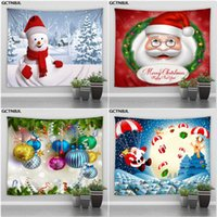 Tapestries Xmas Tapestry Large Wall Hanging Santa Claus Reindeer Snowman Christmas Decoration Cloth Bed Blanket Home Room Decor Throw Rug