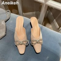 Aneikeh Women's Slippers 2021 Spring Autumn Butterfly-Knot Fashion Sexy Bling Crystal Slip-On Ladies Shoes Zapatos De Mujer