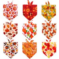 Dog Apparel Thanksgiving Cats Dogs Bandana Triangle Bibs Scarf Accessories with Festival Element for Small Large Pets KDJK2109