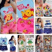 Verão Novas Mulheres Pijamas Terno Designer Womens Pajamas Set Impresso Suspender Shorts Dois Parte Sets Moda Casual Pijamas Início Terno 9483
