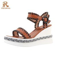 Genuine Cow Leather Women Sandals Brand Wedges High Heels Platform Shoes Brown White Dress Party Casual Gladaitor 39