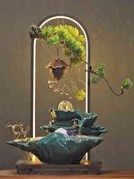 Articoli per famiglie creativi in stile cinese Home Soggiorno Desktop Fountain Water Caratteristiche Decorazione ceramica