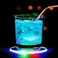 5pcs Led Coaster Cup Holder Mug Stand Novelty Lighting Bar Mat light Table Placemat Party Drink Glass Creative Pad Round Home Decor Kitchen 7 Color