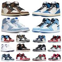 Nike Air Jordan 1 Travis scott x Fragment 1s mens basketball shoes university blue Twist Hype Royal Black toe banned Fearless men women trainers sports sneakers