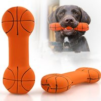 Pet bone Rubber toy Chewing Dogs Pets Teether press sound basketball Bones Large Dog Play Toys WY1324