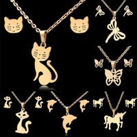 Earrings & Necklace Rinhoo Cute Cat Horse Butterfly Gold Color Stainless Steel Sets Dolphin Elephant Dragonfly Cherry Jewelry Set