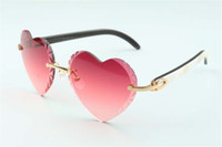 Direct sales heart shaped cutting lens sunglasses 8300687, natural white & black hybrid buffalo horn temples size: 58-18-140 mm