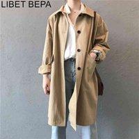 جديد 2020 الخريف المرأة البضائع سترة واقية عارضة جيوب خمر قميص أزرار كبيرة الحجم البرية طويل خندق سيدة قمم JK0393