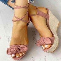 الصيف الكاحل حزام النساء الصنادل منصة أسافين عالية كعب قطيع فراشة زقزقة تو أزياء الإناث السيدات الأحذية zapatos دي موهير 210412