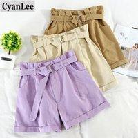 Cyanlee Vintage Summer Bud Large jambe Shorts Femmes Casual Taille haute avec ceinture Mode Kaki Purple Aprioct Bases Femmes