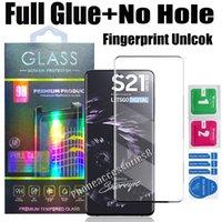 Premium Volledige lijm Geen gat 5D Gebogen gehard Glas Screen Protector voor Samsung S21 Ultra S20 Note20 S10 Plus S8 S9 Note8 FinPrint Ontgrendel met Detailhandel