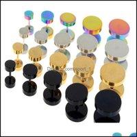 Stud Earrings Jewelrystud 10Pcs Stainless Steel Faux Fake Ear Plugs Flesh Tunnel Gauges Tapers Stretcher Earring 614Mm Piercing Jewelry Fnjn
