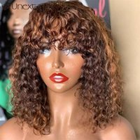 Perruques en dentelle Unextar Curly Brown Blonde Might Machine Full Machine Fabriquée avec Bangs Remy Cheveux humains brésiliens pour femmes
