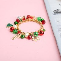 Link, Chain Metal Christmas Bracelets For Women Gold Bangles Pearls Bells Crystal Beads Snowflake Charms Chains Fashion Jewelry Accessories