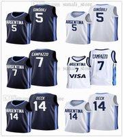 2021 Pallacanestro Jersey Argentina Olimpiadi 5 Manu Ginobili 7 Facundo Campazzo 14 Gabriel 4 Luis Scola Deck Navy White Color
