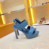 الأزرق عالية الكعب 10.5 سنتيمتر مثير عارضة جلد حقيقي المرأة الصنادل مصمم أحذية السيدات أزياء الاتجاه أنيقة خمر الصنادل