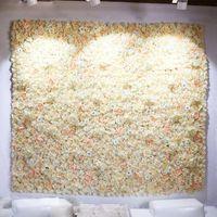 Decorative Flowers & Wreaths 40x60cm Artificial Flower Panels Wedding Decoration Backdrop Champagne Silk Rose Fake Hydrangea Wall 24pcs