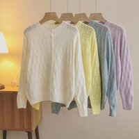 Women's Knits & Tees Hollow Out Button O-neck Cardigans Sweater Office Lady Full Computer Knitted Sweaters Long Sleeve Top Women Autumn Spri