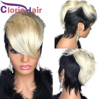 Platinum Blonde Ombre Short Human Hair Wig With Bangs For Black Women Colored 1B 613 Pixie Cut Straight Brazilian Virgin Glueless Natural Fringe Wigs