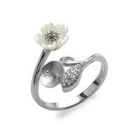 Настройки кольца Белая оболочка Цветочный лист стерлингового серебра 925 стерлингового серебра DIY жемчужные кольца полумесячные 5 штук DFF1505