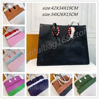 Lyxig designers handväskor GM MM Onthego Totes Stora Kapacitet Kvinnor Äkta Läder Axel Väskor Lady Shopping Väska med Multi-Pocket Purses