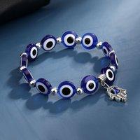 2021 Elastische touw Strands Evil Blue Eye Hamsa Hand Fatima Palm BraceletsBangles Voor Vrouwen Mannen Handgemaakte Casual Sieraden Armband Vrouw
