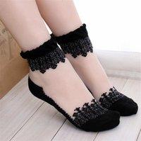 Renkli Ultrathin Çorap Şeffaf Güzel Kristal Dantel Elastik Kısa Kadın Çorap Calcetines Bayan için Pembe