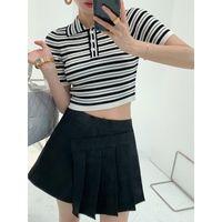 Women's T-Shirt 2021 Summer Sweet Hit Color Stripes Woman Tshirts Turn Down Collar Chic Button Design T Shirt Fashion Elastic Slim Tee