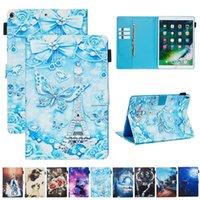 Carcasas de cuero de dibujos animados para iPad 10.2 10.5 PRO 11 Air4 10.9 Air Air2 5 6 8 Mini 1/2/3/4 / 5 Tiger Butterfly Cat Sea Ocean Tower Panda Flip Cover