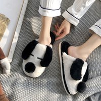 Luxurys Designers Shoes Winter Warm Home Women Cotton Slippers Cute Lovely Cartoon Dog Shoes Soft Indoor Bedroom House Men Lover