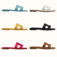 Frauen Oran Sandale Slides Designer Klassische flache Hausschuhe Rote gelbe Cartoon Echte Leder Damen Sommer Strand Schuhe Große Größe US 4-1 DBC