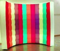 Arco-íris multi com cor whie packdrop de parede inflável com tiras de diodo LED mudando pela parede da cabine de foto remota para o partido zhl1978