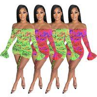 Neonfarbe Brief Drucken Ruhnierte Kordelzug Minikleid Frauen Slash Hals Lange Flare Sleeve Vestidos Herbst Schulter Robe Femme